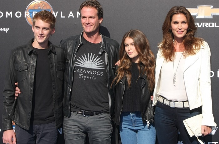 Kaia Gerber, Rande Gerber, Cindy Crawford, and Presley Gerber at the premiere of 'Tomorrowland' at AMC Downtown Disney in Anaheim on May 9, 2015