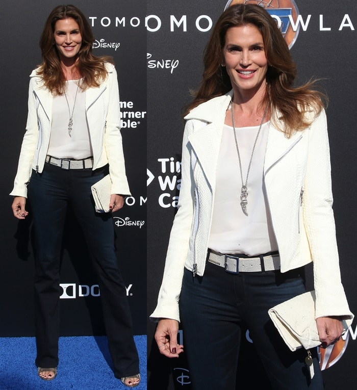 Cindy Crawfordsported a white lambskin leather biker jacket from Rta paired with a simple white top and dark denim jeans