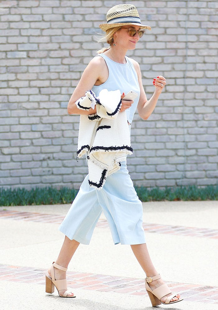 Diane Kruger rocks a midriff-flashing sleeveless crop top and matching culottes by 3x1
