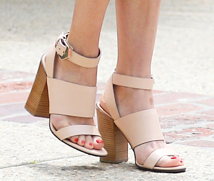Diane Kruger's chunky stacked heels with buckled ankle straps
