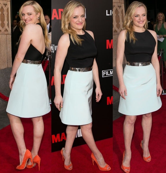 Elisabeth Moss wears a black-and-white Romona Keveza dress on the red carpet