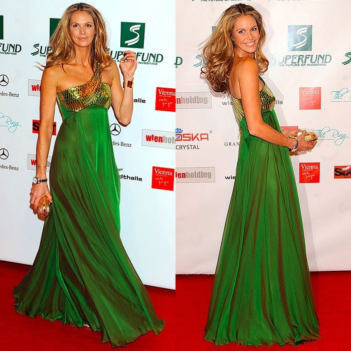 Elle Macpherson let some of her natural boho style peek through in her green-and-gold Roberto Cavalli one-shoulder gown and Jimmy Choo gold-beaded t-strap flats
