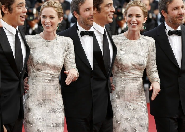 Emily Blunt having fun on the red carpet at the Sicario premiere in Cannes