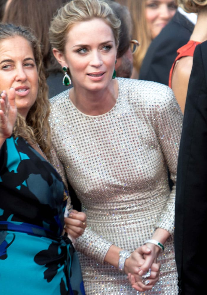 Emily Blunt accessorized with a variety of jewelry by New York-based Taiwanese high jewelry artist Anna Hu