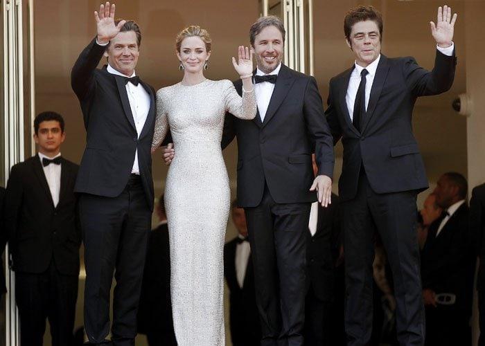 "Actors Josh Brolin, Emily Blunt, director Denis Villeneuve and actor Benicio Del Toro attend the ""Sicario"" premiere"