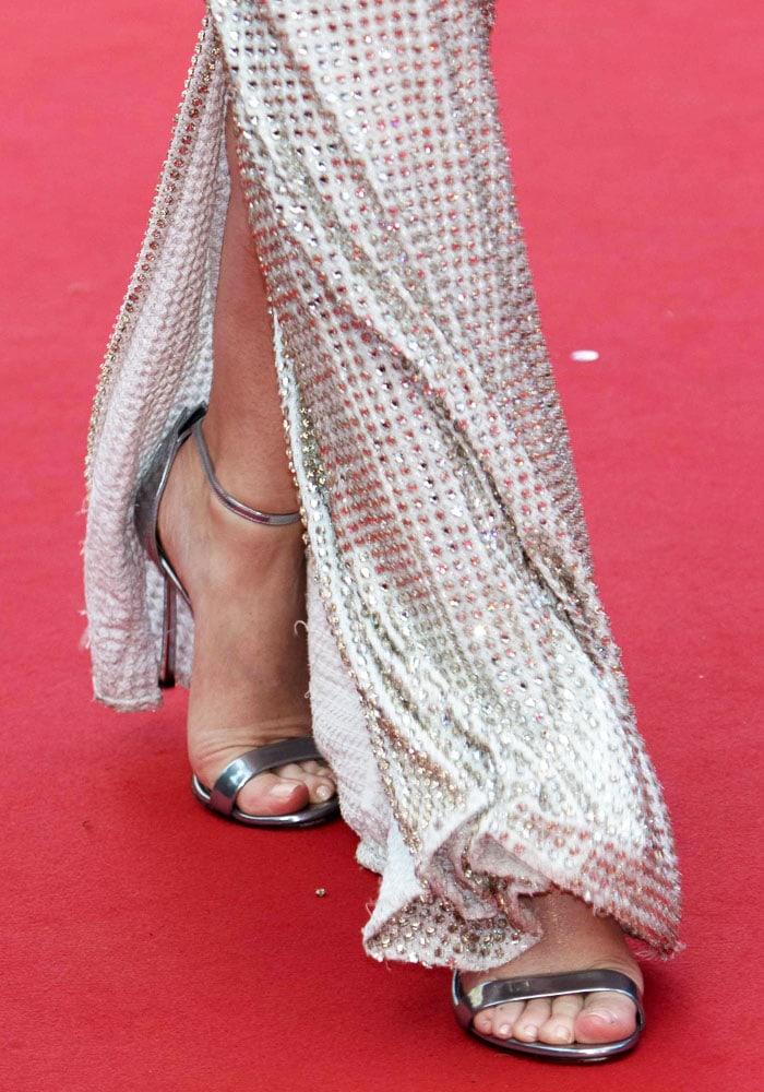 Emily Blunt's sexy feet in custom Casadei sandals