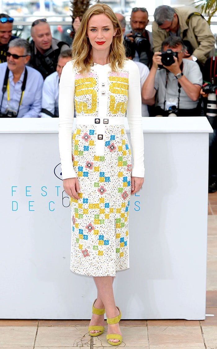 Emily Blunt in a colorful Peter Pilotto A/W 2015 frock featuring bold embroideries and silver studs and embellishments