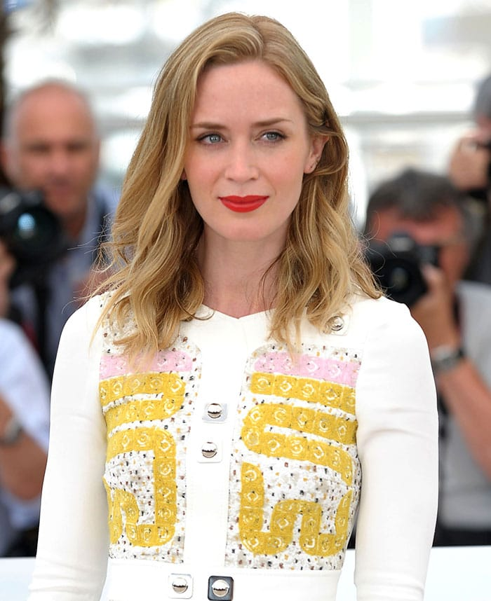 """Emily Blunt at the photo call for """"Sicario"""" during the68th Annual Cannes Film Festival"""