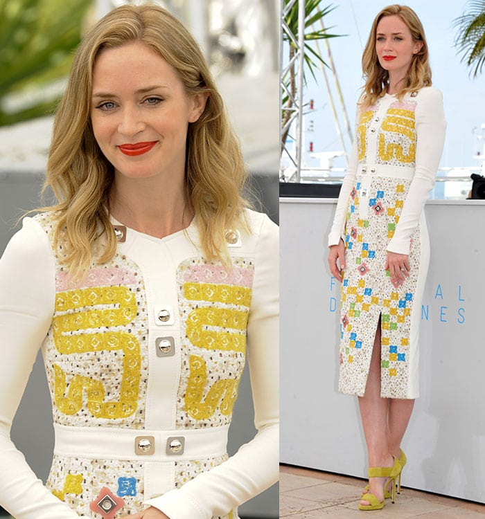 Emily Blunt's dresshas a demure silhouette with long sleeves and a mid-length pencil skirt slashed to the thigh for an added daring touch