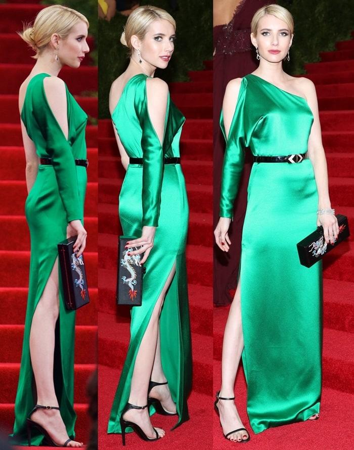 Emma Roberts Nasty Long Toes And Monique Péan Earrings At Met Gala
