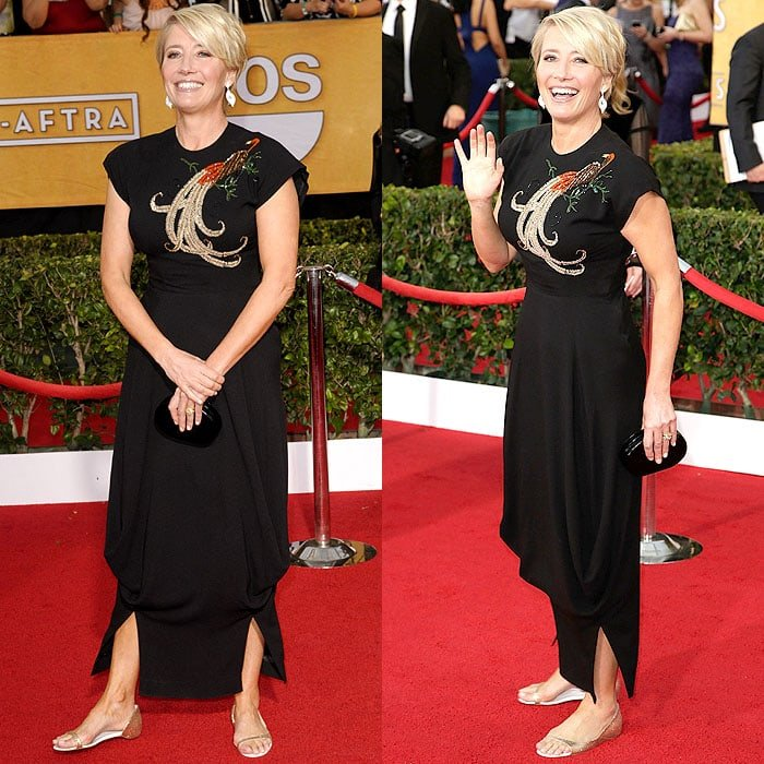 "Opting for monsieur Christian Louboutin's ""Toboggan"" gold glitter flats, the 56-year-old British actress happily and comfortably walked the red carpet at the 2014 SAG Awards"