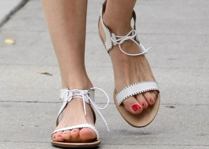 Emmy Rossum's sexy feet in gladiator sandals from Loeffler Randall