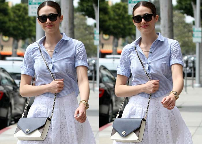 Emmy Rossum with rolled up sleeves