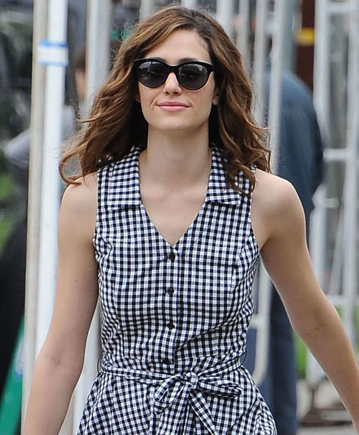 Emmy Rossum's a check-patterned black-and-white sleeveless sundress