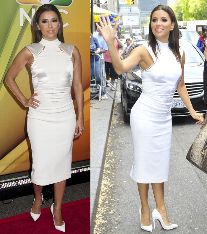 Eva Longoria flaunted her legs in a white satin dress