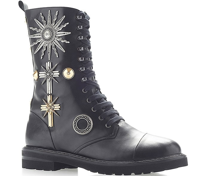 Fausto Puglisi Embellished Cross Lace-Up Boots