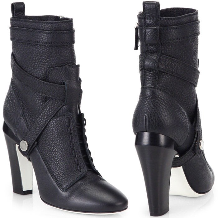 Fendi Black Diana 105Mm Leather Ankle Boots