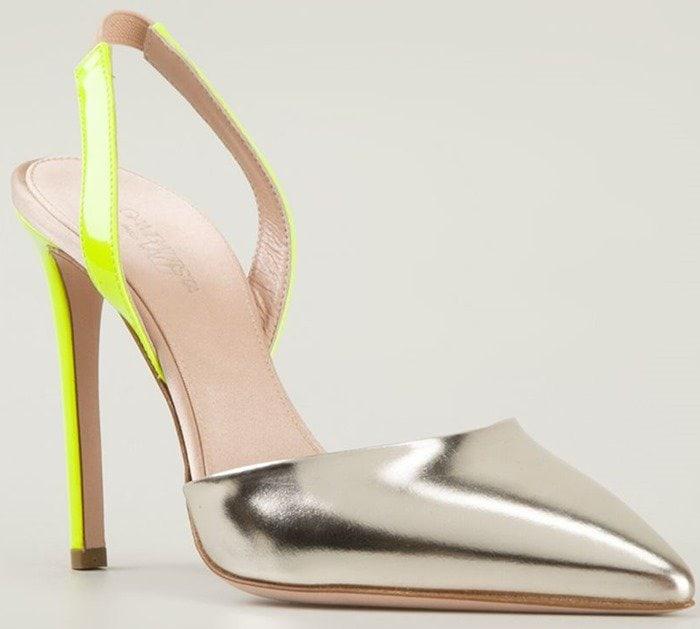 Silver and Neon Yellow Giambattista Valli Slingback Pumps