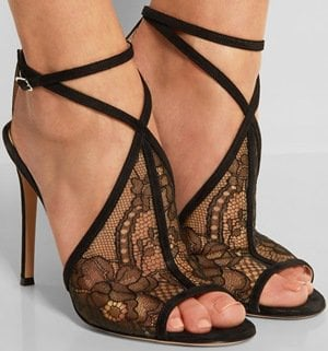 Gianvito Rossi Suede-Trimmed Chantilly Lace Sandals