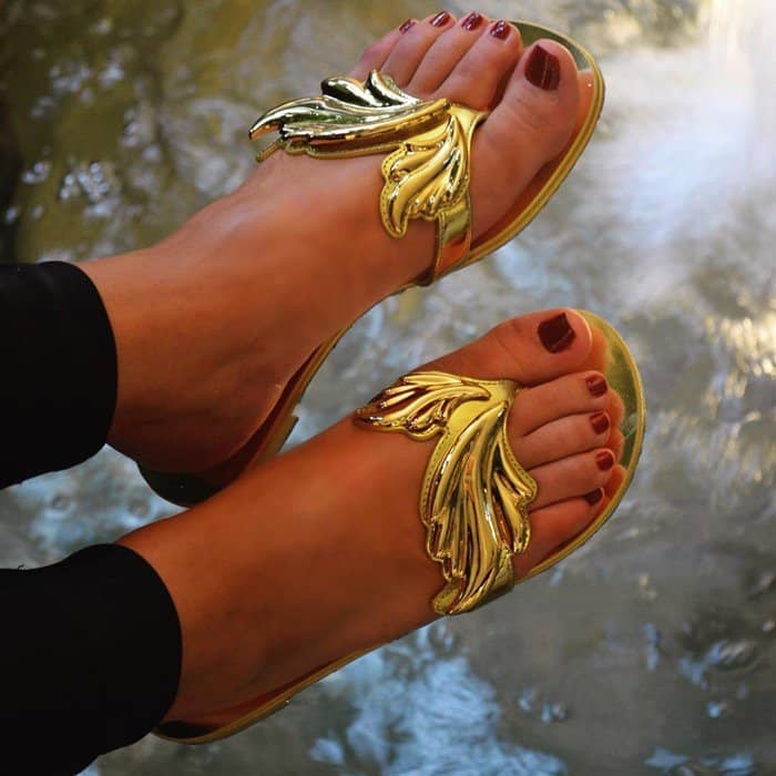 Giuseppe Zanotti 'Cruel' Mirrored Gold Sandals