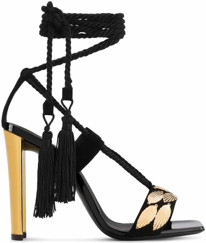 Giuseppe Zanotti 'Danielle' Suede Sandal With Leaf Accessories