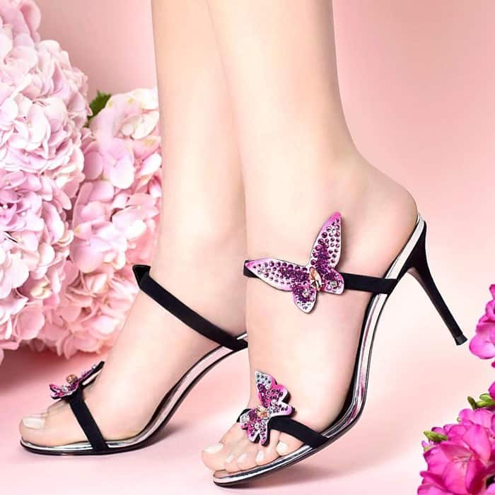 Giuseppe Zanotti 'Estelle' Mid-Heel Mule With Crystal Butterfly Appliques