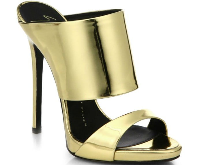 Giuseppe Zanotti Metallic Leather Mule Sandals in Metallic Gold