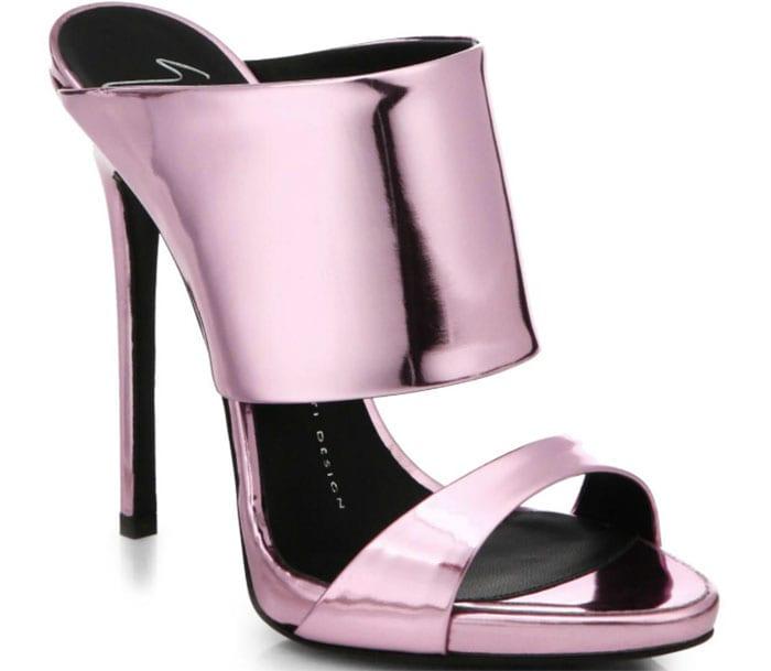 Giuseppe Zanotti Metallic Leather Mule Sandals in Metallic Pink