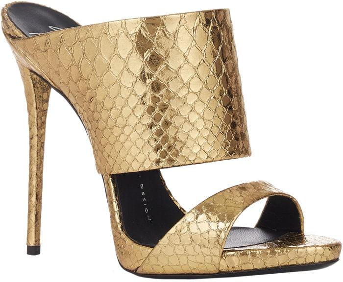 Giuseppe Zanotti Snake-Stamped Slide Sandals Gold