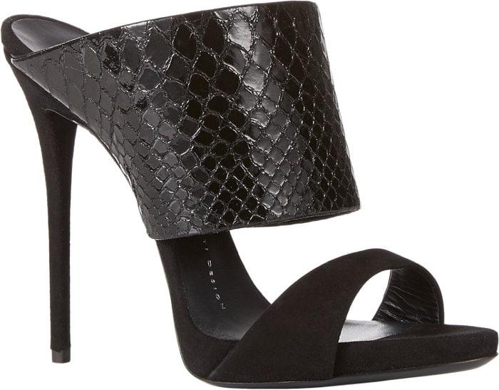 Giuseppe Zanotti Snake-Stamped Slide Sandals