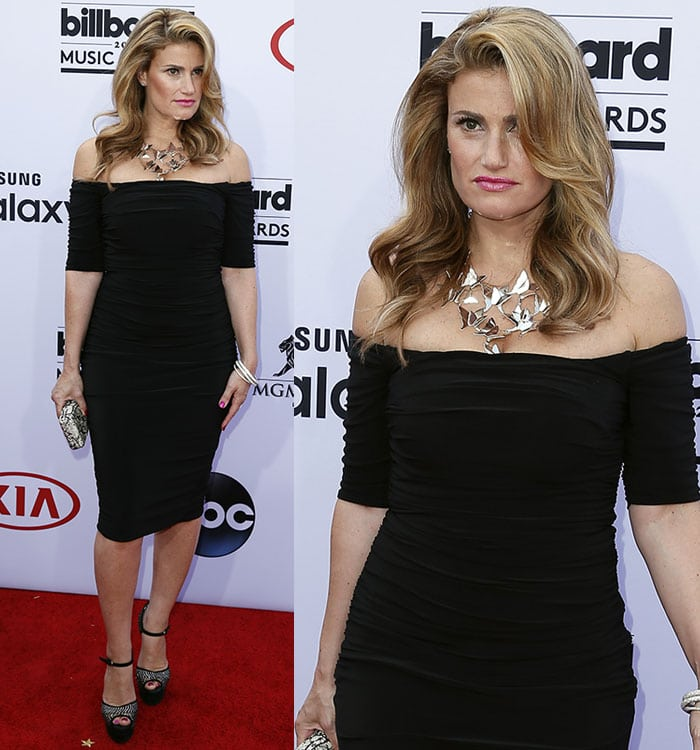 Idina Menzel flaunts her legs at the 2015 Billboard Music Awards