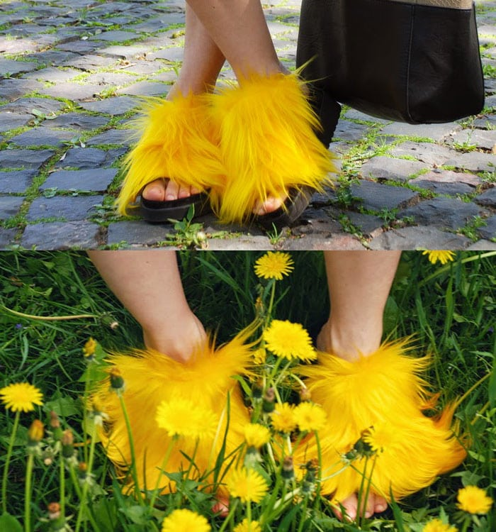 Iren wears unique yellow fur sandals