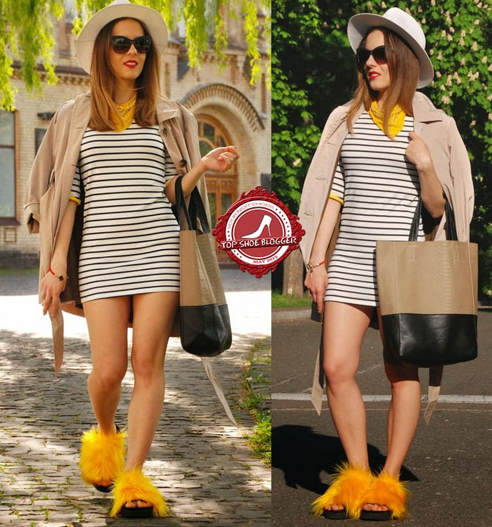 Iren's striped dress and yellow scarf