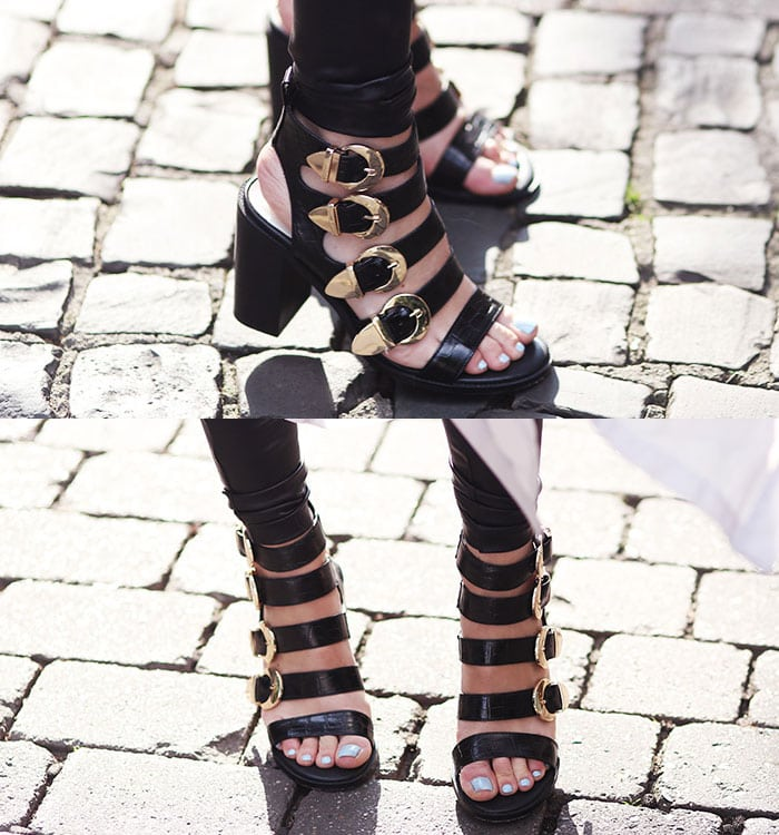 Jada's hot feet in gladiator-inspired strappy sandals