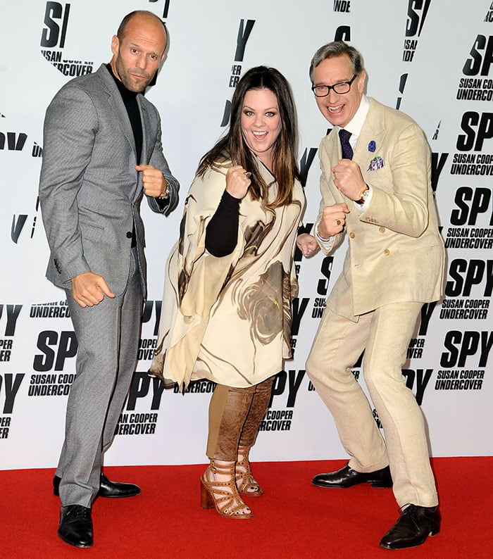 """Melissa McCarthy was joined by """"Spy"""" co-star Jason Statham and director/writer Paul Feig"""