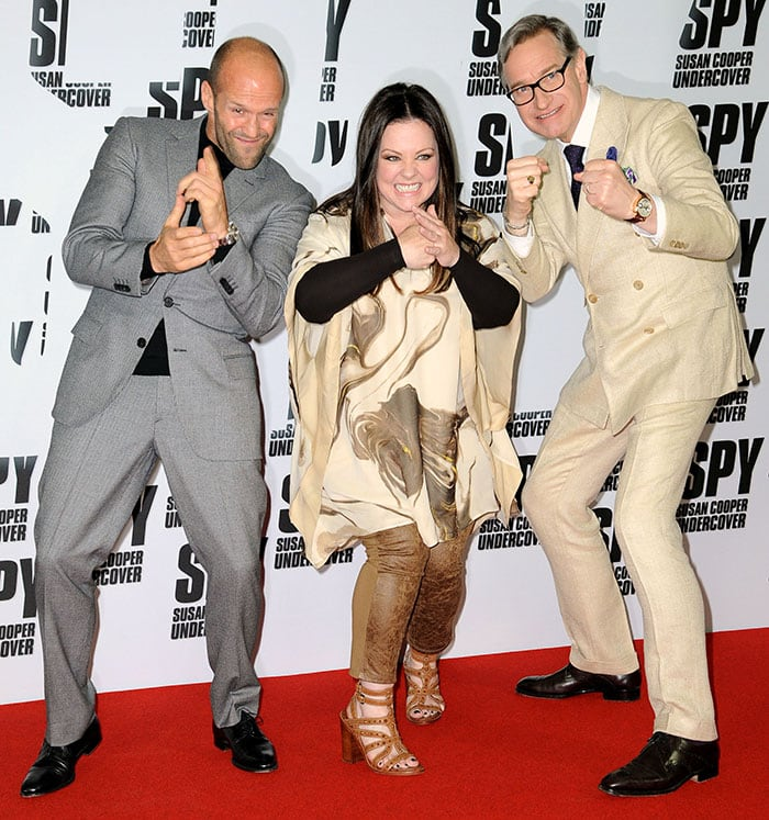 """Jason Statham, Melissa McCarthy, and Paul Feig at the photocall for """"Spy"""""""