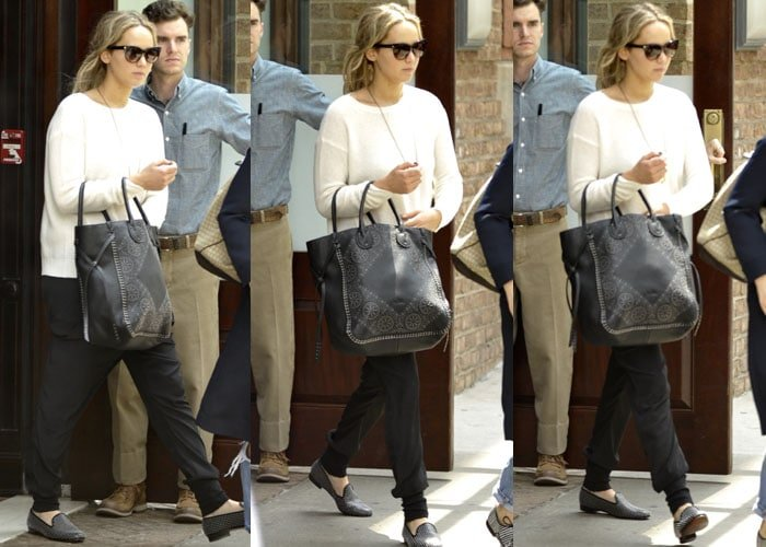 Jennifer Lawrence shows off her studded Louis Leeman flats