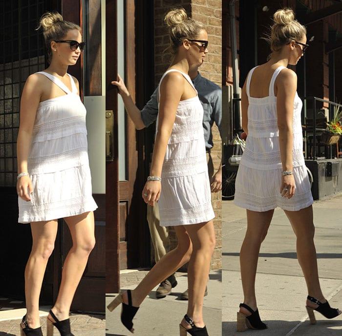 Jennifer-Lawrence-in-white-mini-dress-and-chunky-heels