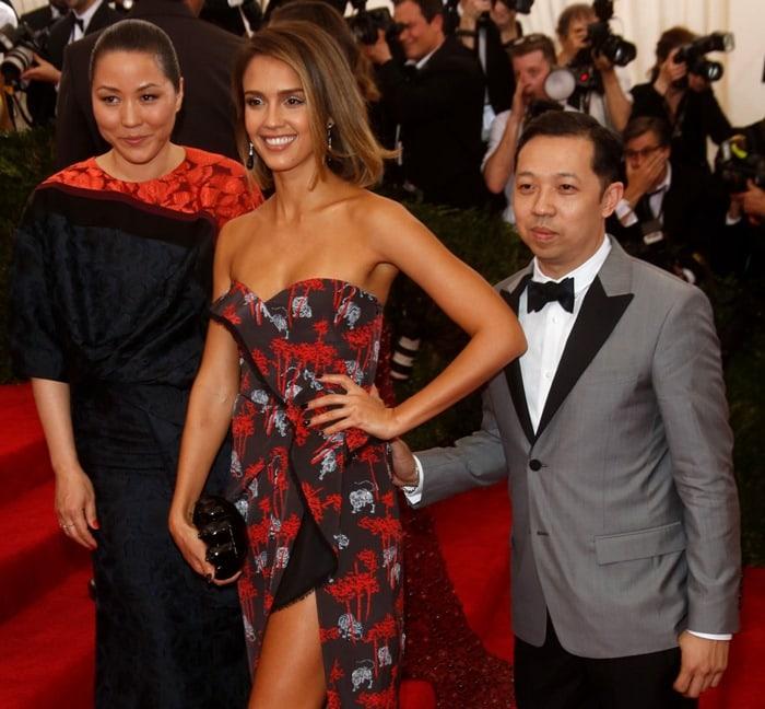 Jessica Alba, posing with Kenzo creative directors Humberto Leon and Carol Lim, at the 2015 Met Gala