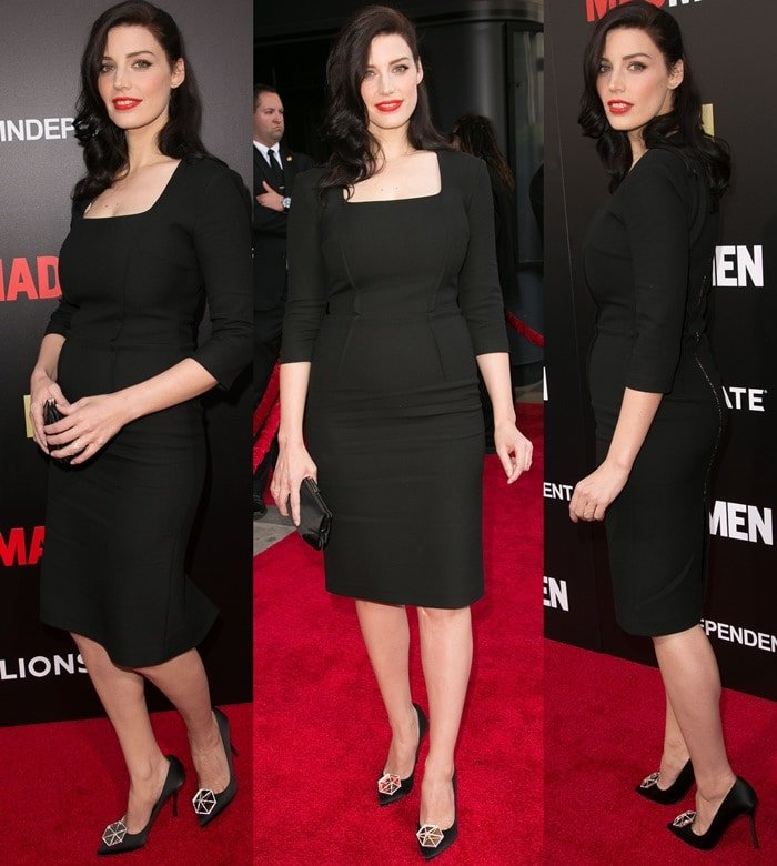 Jessica Pare flashed her legs in a little black dress from Safiyaa London