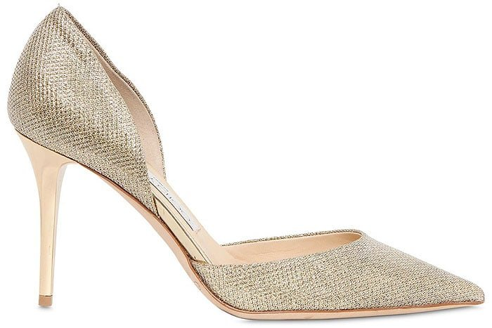 Jimmy Choo Addison d'Orsay Pumps in Gold Glitter