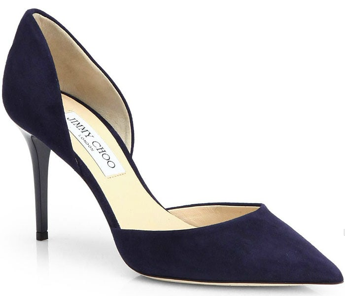Jimmy Choo Addison d'Orsay Pumps in Navy Suede