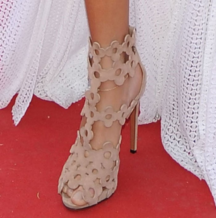 Joan Smalls shows off her sexy toes in Azzedine Alaia sandals