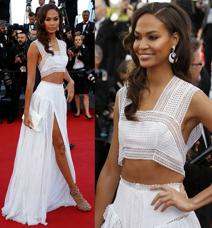Joan Smalls rocked a maxi skirt featuring double thigh-high front slits