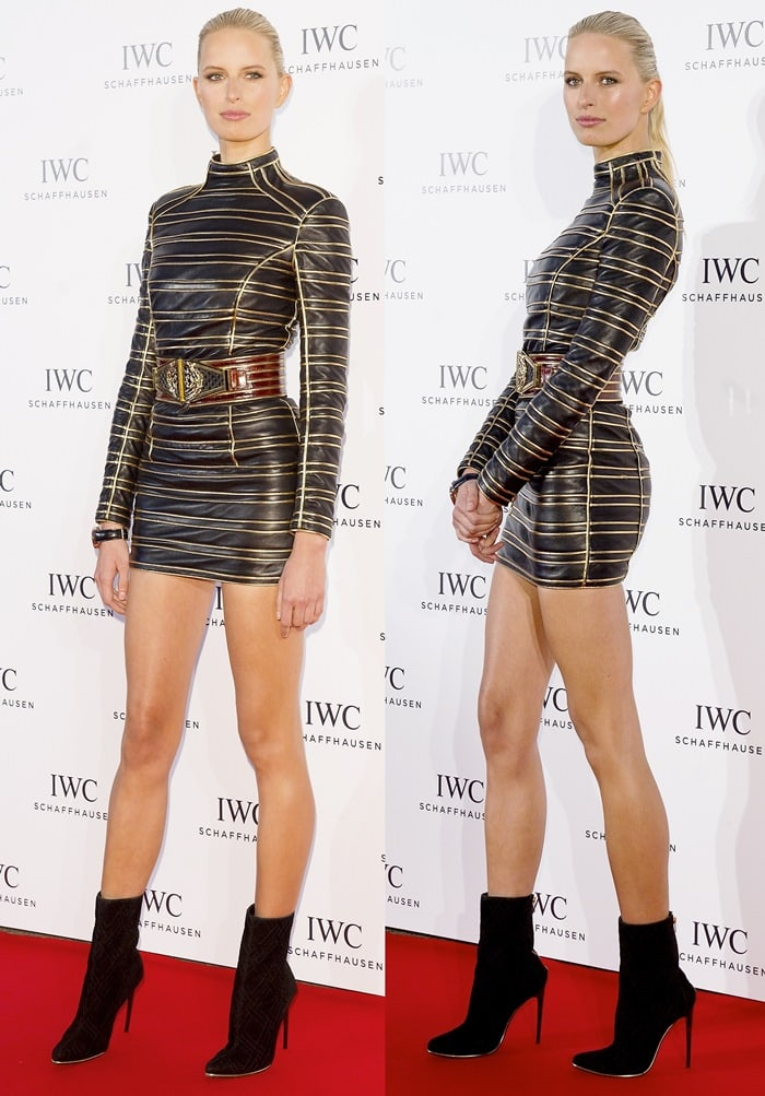 Karolina Kurkova styled the Balmain mini dress with black booties