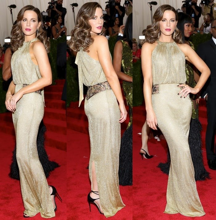 Kate Beckinsale's gold draped sleeveless gown by Diane von Furstenberg