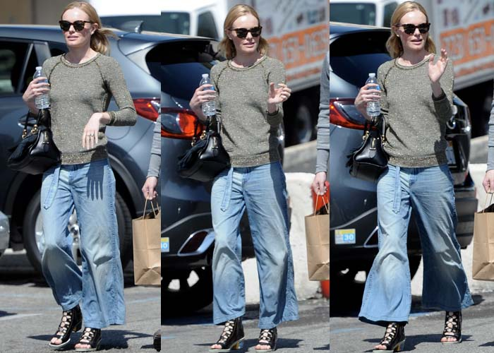 Kate Bosworth styled her denim culottes with ankle boots