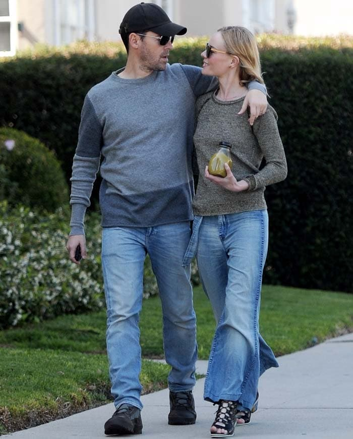 Actress Kate Bosworth taking a romantic stroll through West Hollywood with husband Michael Polish