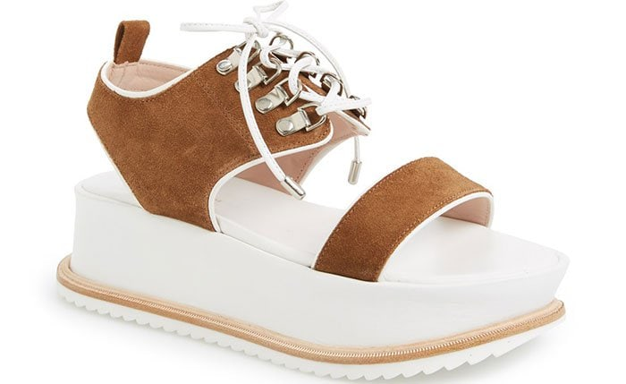 """Kate Bosworth for Matisse """"Dawn"""" Platform Lace-Up Sandalsin Fawn Suede"""