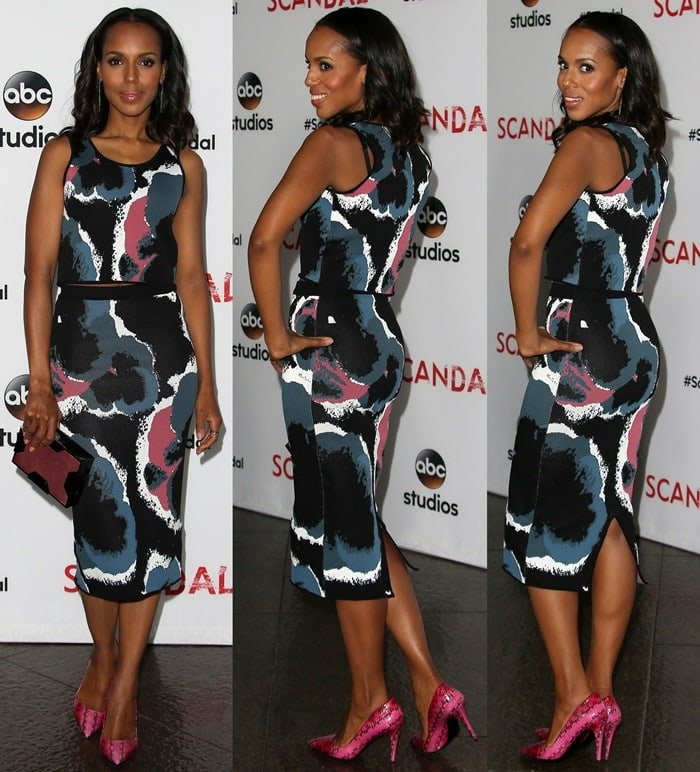 Kerry Washington's hot legs in a multicolor-printed knit crop top paired with a matching pencil skirt